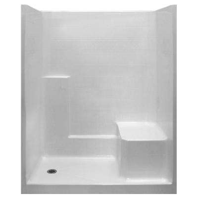 Standard 36 in. x 60 in. x 77 in. 1-Piece Low Threshold Shower Stall in White with RHS Molded Seat and Left Drain