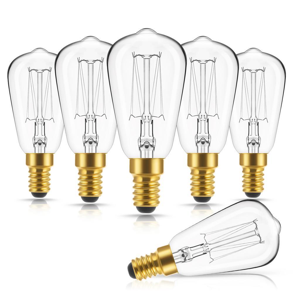 40-Watt ST38 E12 Edison Incandescent Dimmable Light Bulb in Warm White 2700K(6-Pack)