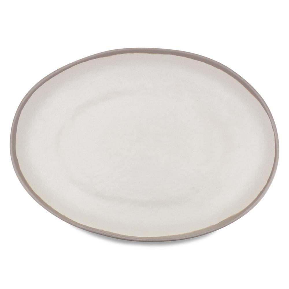 Potter 18 in. x 13 in. Melamine Bamboo Oval Platter in Stone Gray