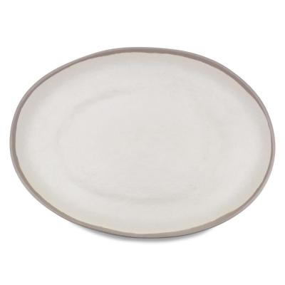 Potter 18 in. x 13 in. Melamine Bamboo Oval Platter in Stone Gray