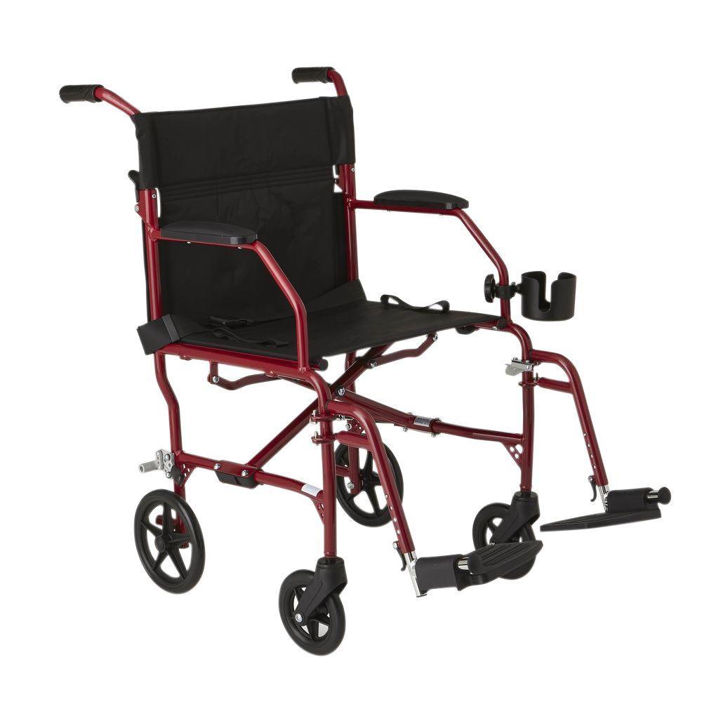 Medline Freedom Transport Wheelchair In Burgundy