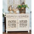 White 2-Drawer Floral Cabinet