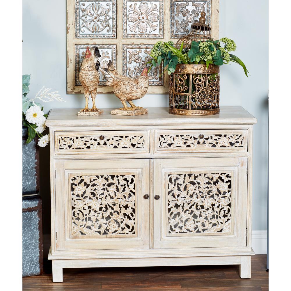 Litton Lane White 2-Drawer Floral Cabinet