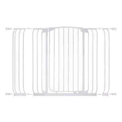 Chelsea 40 in. H Extra Tall and Extra Wide Auto-Close Security Gate in White with Extensions