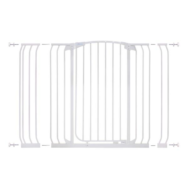 Chelsea 39.4 in. H Extra Tall and Extra Wide Auto-Close Security Gate in White with Extensions