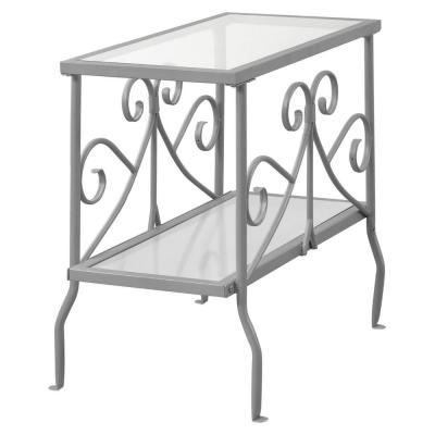 Jasmine 22 in. Silver and Clear Glass End Table