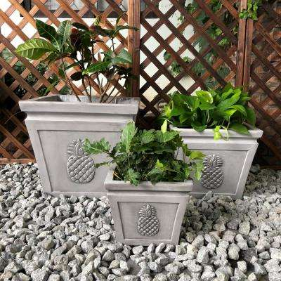 Light Grey Lightweight Concrete Pineapple Embossed Flared Square Planter (3-Pack)
