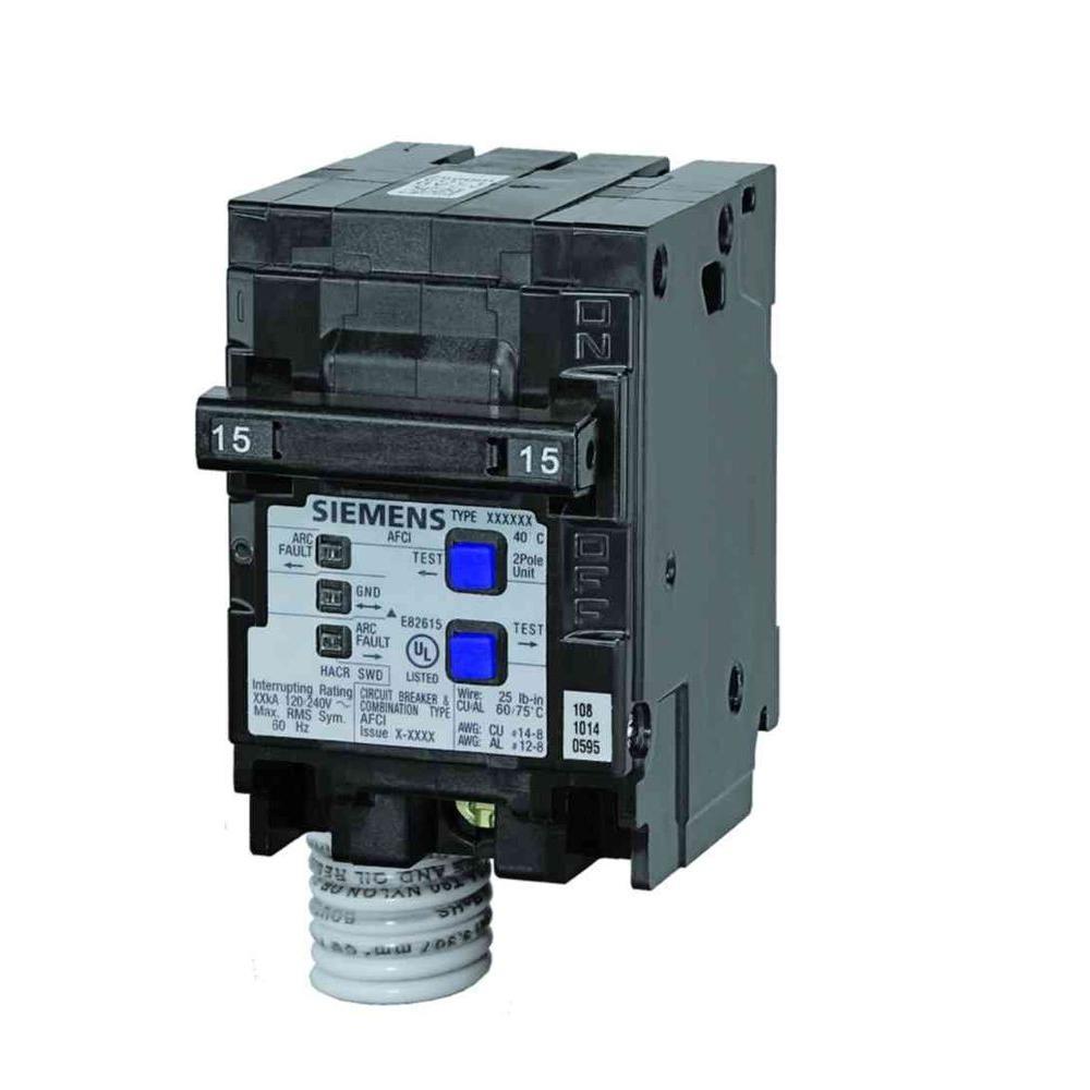 15 amp double-pole type qaf combination afci circuit breaker