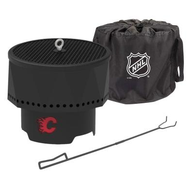 The Ridge NHL 15.7 in. x 12.5 in. Round Steel Wood Pellet Portable Fire Pit with Spark Screen, Poker- Calgary Flames