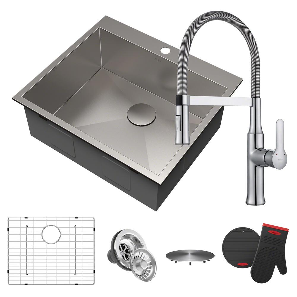 all in one kitchen sink kraus pax all in one drop in stainless steel 25 in 1 7422