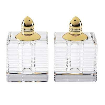 Handmade Lead Free Crystal Pair Salt and Pepper Clear Pinstripes Square Tall with Gold Tops