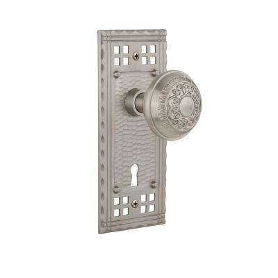 Craftsman Plate with Keyhole Single Dummy Egg and Dart Door Knob in Satin Nickel