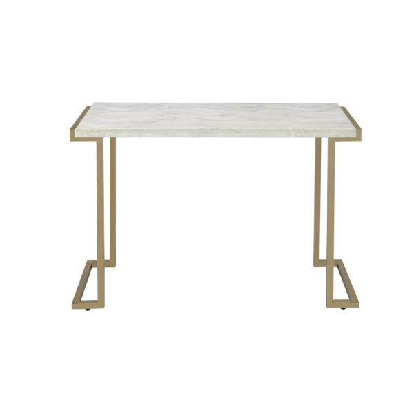 Boice II Faux Marble and Champagne Sofa Table
