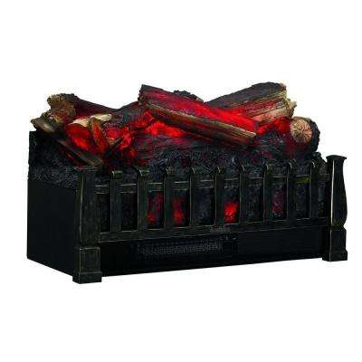 20 in. Electric Fireplace Log Set Heater with Realistic Ember Bed in Antique Bronze