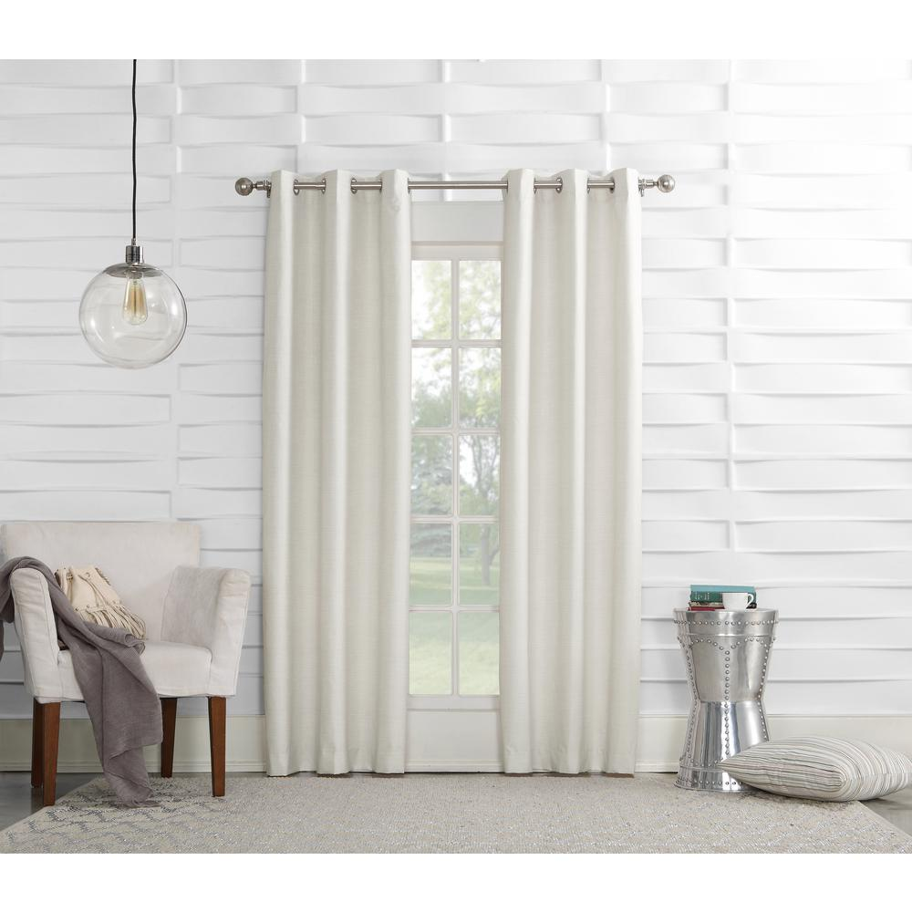 Sun Zero Tom 40 in. W x 84 in. L Ivory Thermal lined Pole Top Curtain