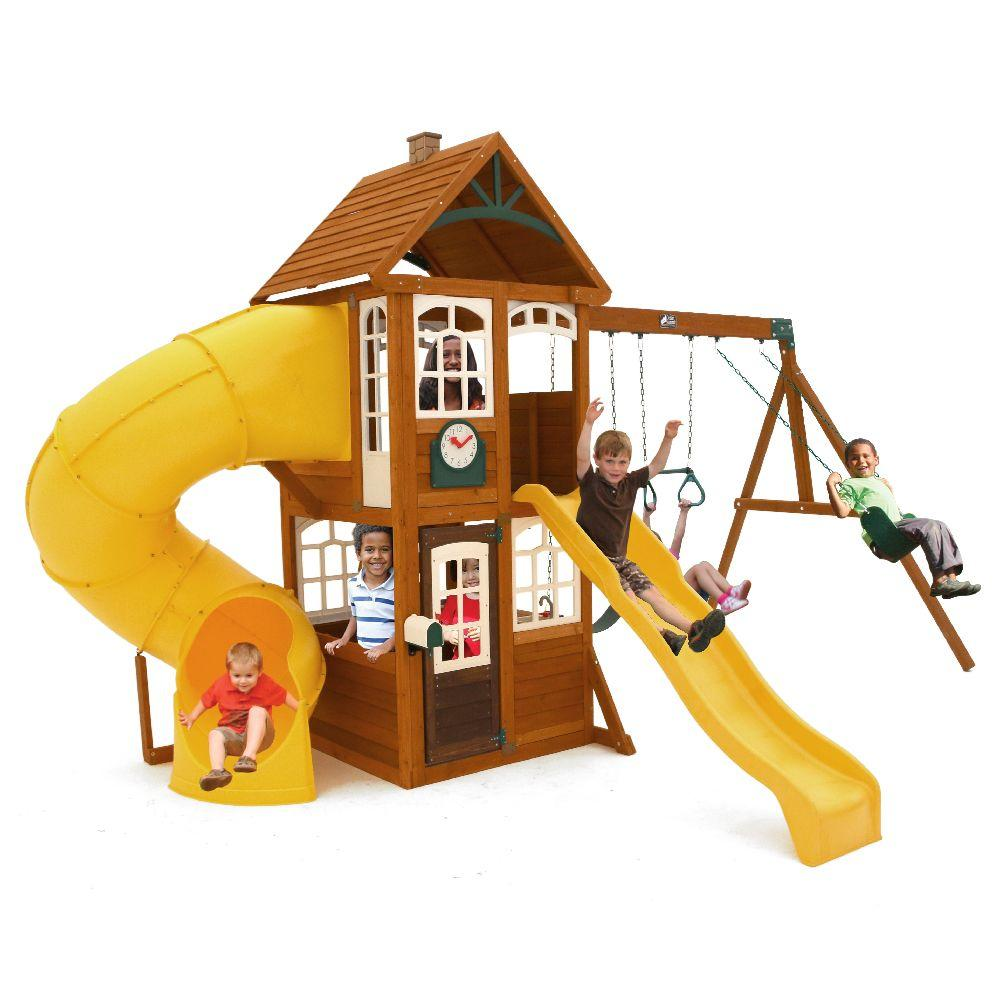 Kidkraft Lewiston Retreat Wooden Swing Set F24954 The Home Depot