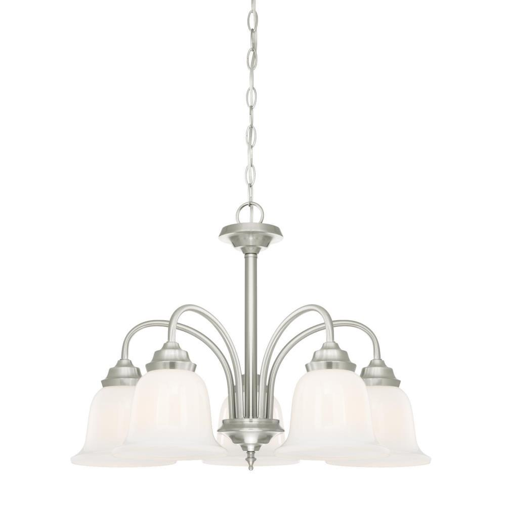 Westinghouse harwell 5 light brushed nickel chandelier with white opal glass shades 6300100 - Westinghouse and living ...