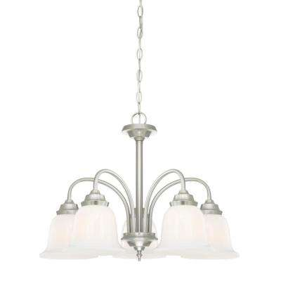 Harwell 5-Light Brushed Nickel Chandelier with White Opal Glass Shades