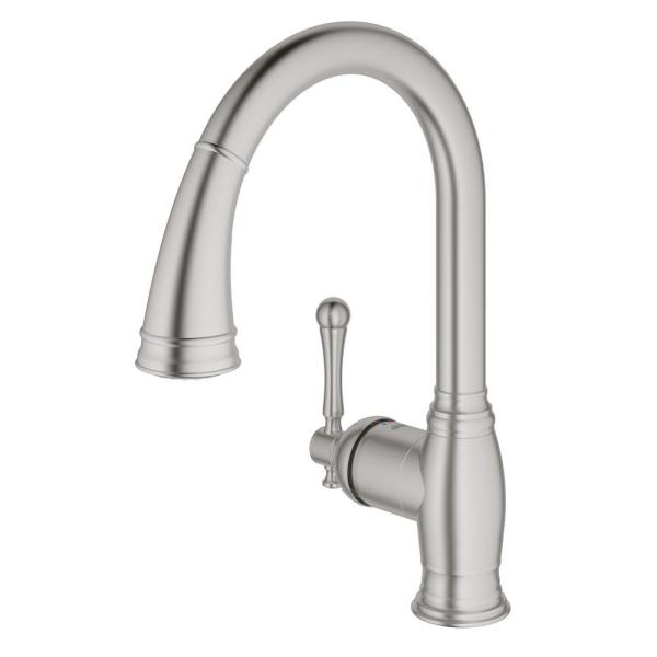 Grohe Bridgeford Single Handle Pull Down Sprayer Kitchen Faucet In Supersteel Infinity 33870dc2 The Home Depot