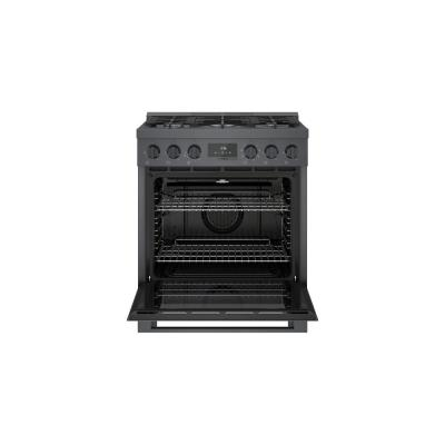 30 in. 3.9 cu. ft. Industrial Style Dual Fuel Range with 5-Burners in Black Stainless Steel