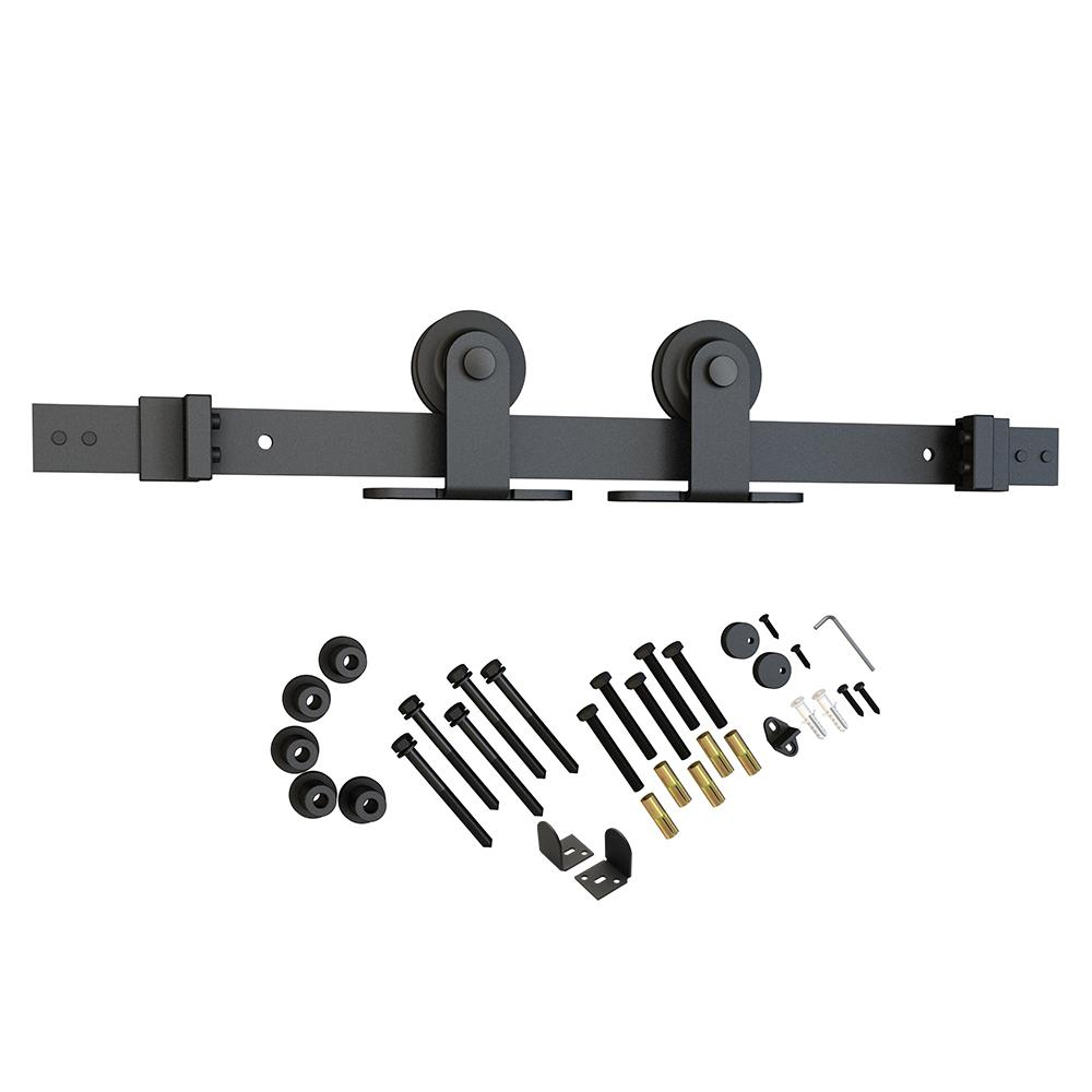 American Pro Decor Black Solid Steel Sliding Rolling Barn Door Hardware Kit  For Single Wood Doors