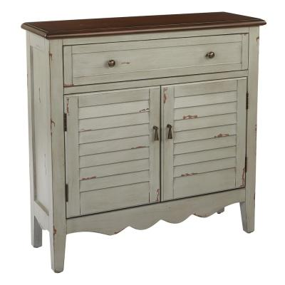 Inspired by Bassett Davison Antique Grey Hall Chest with Brown Top