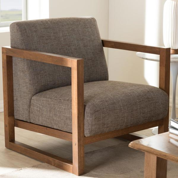 Baxton Studio Valencia Gray Fabric Upholstered Accent Chair