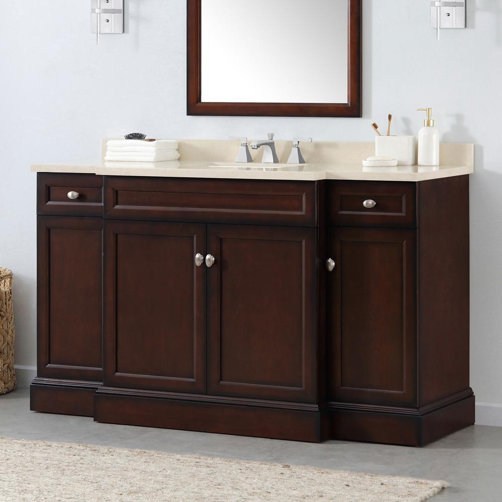 Teagen 58 in. W Bath Vanity in Dark Espresso with Cultured Stone Vanity Top in Beige with White Basin