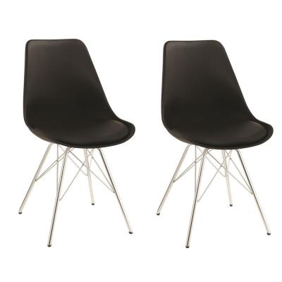 Lowry Collection Black and Chrome Dining Chair (Set of 2)