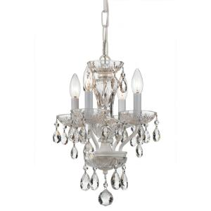 Traditional Crystal 4-Light White Mini Chandelier