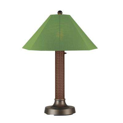 Bahama Weave 34 in. Red Castagno Outdoor Table Lamp with Palm Shade