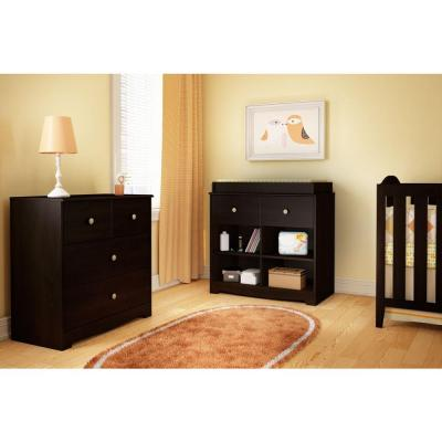 Little Teddy 1-Drawer Espresso Changing Table