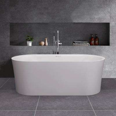 Diana 59 in. Acrylic Freestanding Double Ended Air Bath Bathtub with Drain and Overflow Included in White