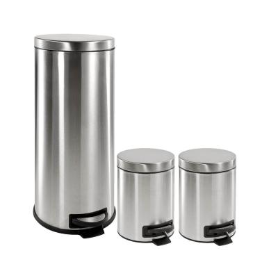 HDX One 30-liter and Two 5-liter Trash Can Combo (Silver)