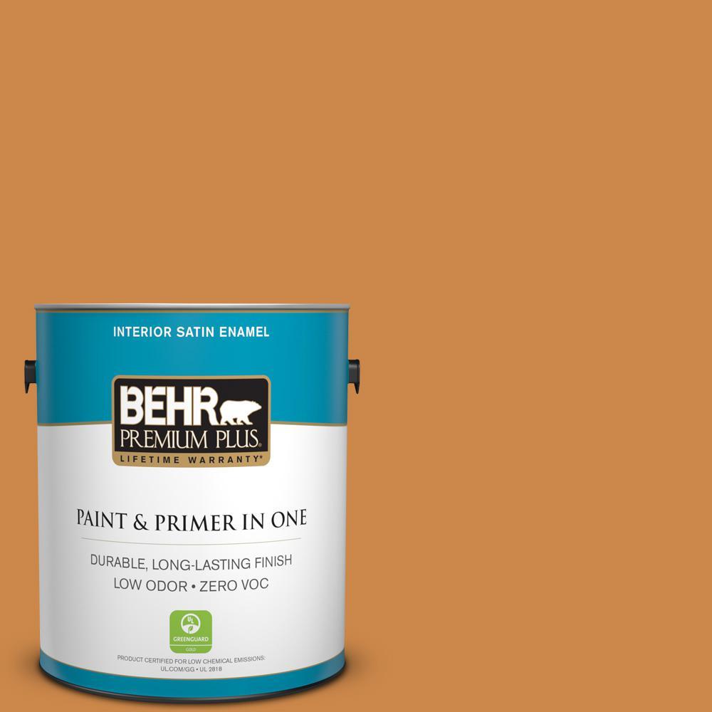 BEHR Premium Plus 1-gal. #M240-7 Golden Pumpkin Satin Enamel Interior Paint