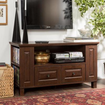 Columbus 44 in. Traditional Brown Wood TV Stand with 2 Drawer Fits TVs Up to 50 in. with Doors