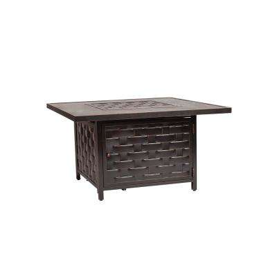 Armstrong 42 in. x 24 in. Square Cast Aluminum LPG Fire Pit Table in Antique Bronze