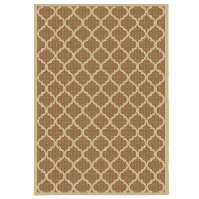 Trellis Brown Natural Flat Woven Weave 8 ft. x 10 ft. Indoor/Outdoor Area Rug
