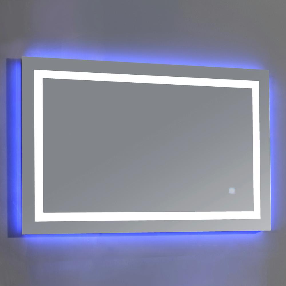 43.3 in. W x 27.6 in. H Frameless Rectangular LED Light Bathroom Vanity Mirror in Mirror