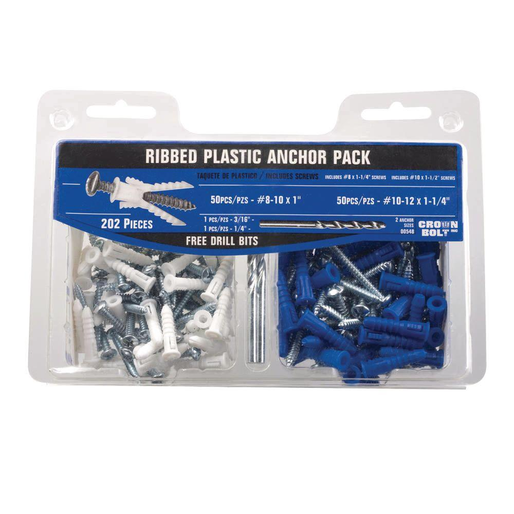 #8-10 White and #10-12 Blue Ribbed Plastic Anchor Pack with Screws