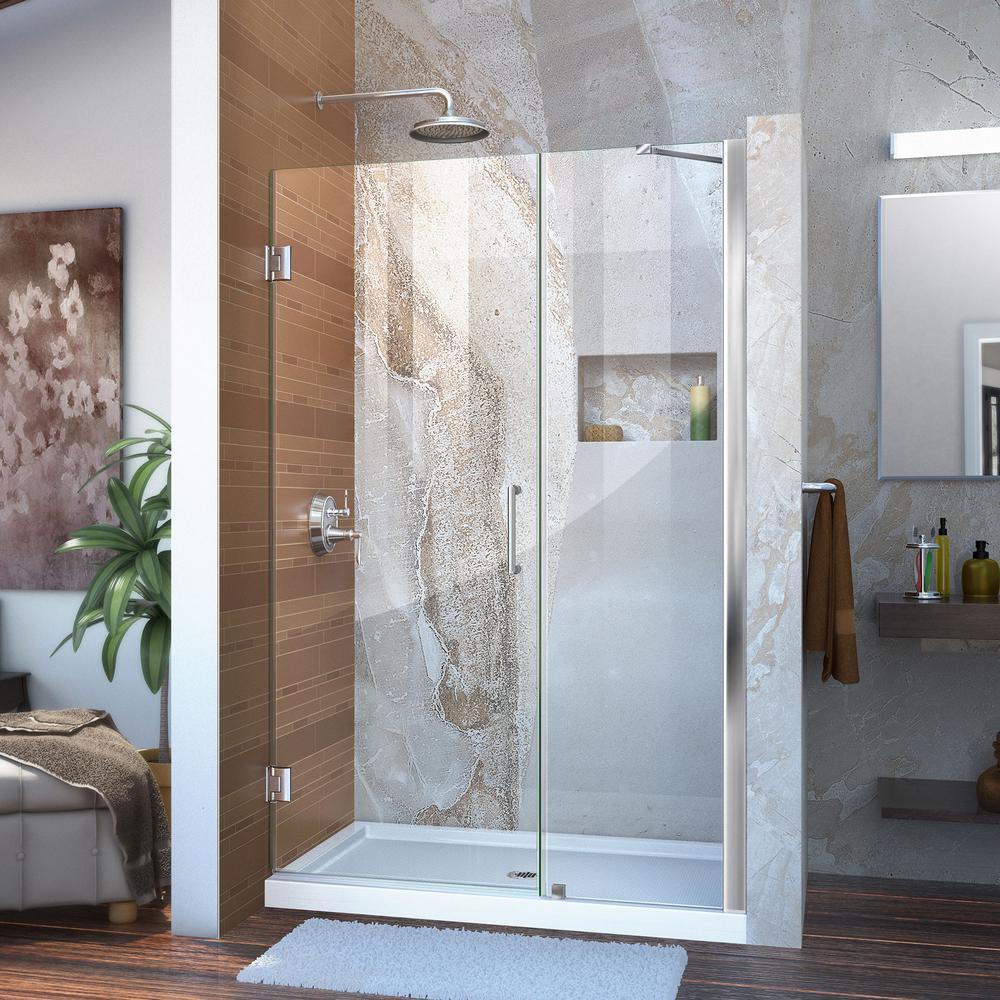 Unidoor 46 to 47 in. x 72 in. Frameless Hinged Shower Door in Chrome