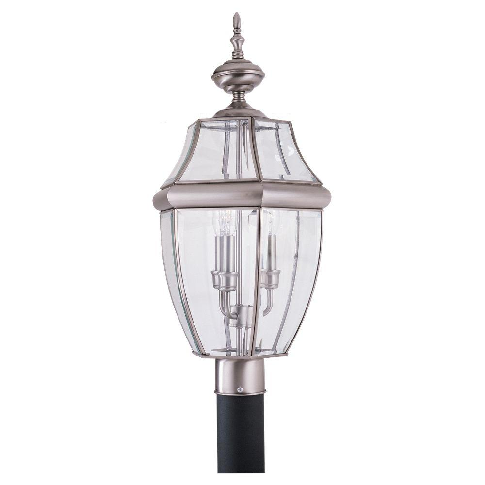 Sea gull lighting lancaster 3 light outdoor antique brushed nickel post top