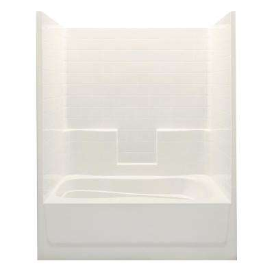 Everyday Smooth Tile 60 in. x 36 in. x 76 in. 1-Piece Bath and Shower Kit with Left Drain in Bone