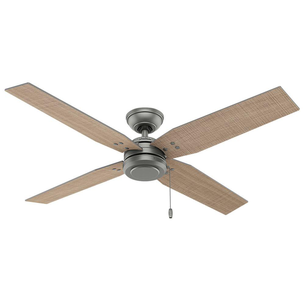 Hunter Commerce 54 in. Indoor/Outdoor Matte Silver Ceiling Fan