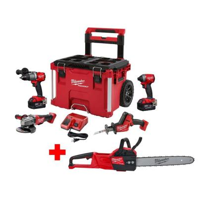 M18 FUEL 18-Volt Lithium-Ion Brushless Cordless Combo Kit (4-Tool) with M18 FUEL Chainsaw and PACKOUT Tool Box