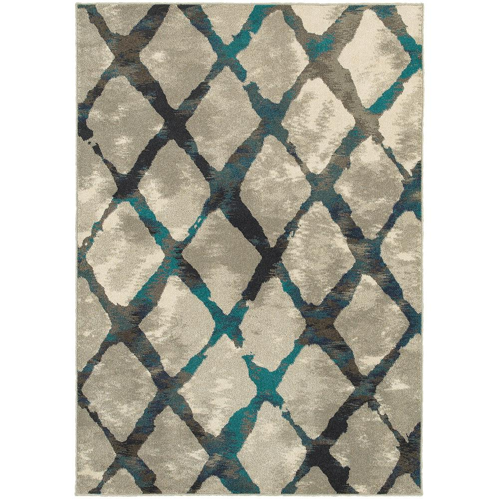 Saratoga Grey/Teal 6 ft. 7 in. x 9 ft. 6 in. Area Rug, Grey Teal