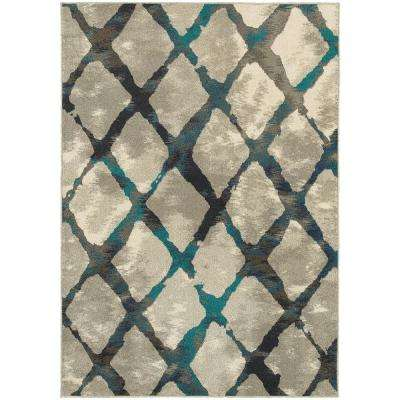 Saratoga Grey/Teal 7 ft. 10 in. x 10 ft. 10 in. Area Rug