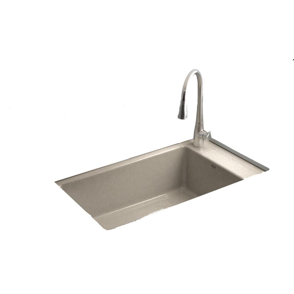 KOHLER Indio Undermount Cast Iron 33 in. 1-Hole Single Bowl Kitchen Sink in Cane Sugar