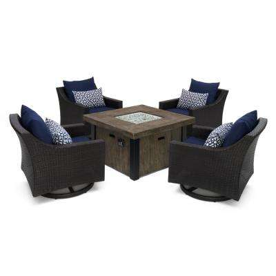 Deco Motion 5-Piece Wicker Patio Fire Pit Conversation Set with Sunbrella Navy Blue Cushions