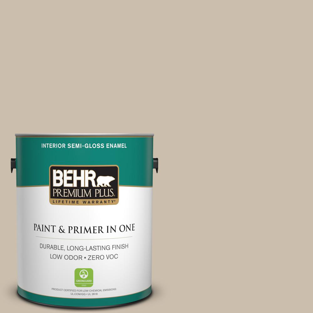 BEHR Premium Plus Home Decorators Collection 1-gal. #HDC-AC-10 Bungalow Beige Zero VOC Semi-Gloss Enamel Interior Paint